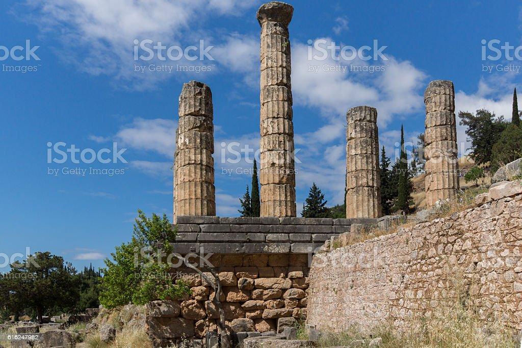 Columns in The Temple of Apollo in Delphi, Central Greece stock photo