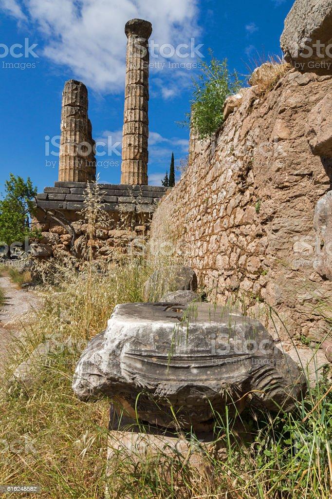 Columns in The Temple of Apollo in Delphi, Greece stock photo