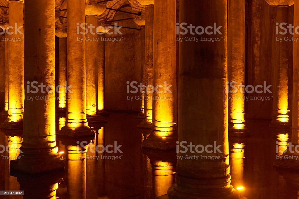 columns in the water with lights stock photo