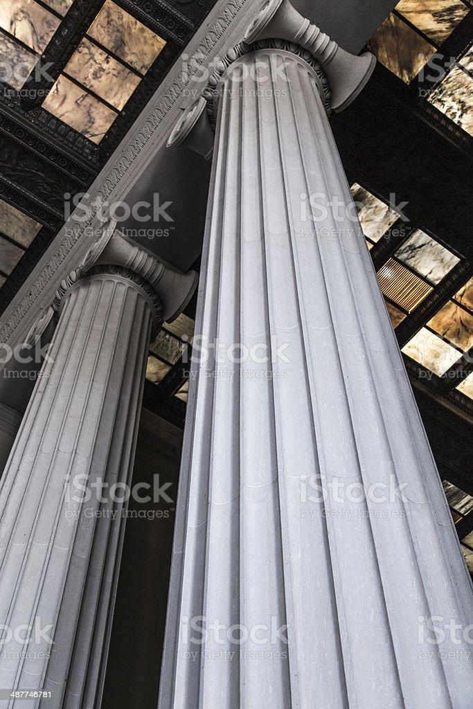 Columns in Washington DC Memorial stock photo