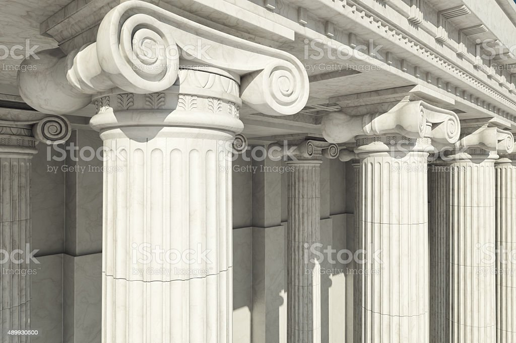 Columns. ionic order. stock photo