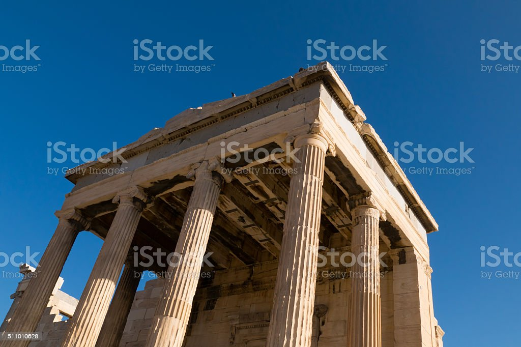 Columns of a Temple in Acropolis Hill, Athens, Greece stock photo