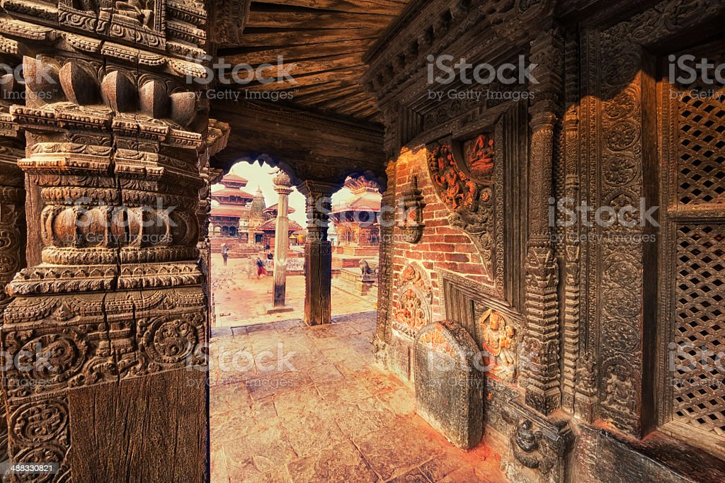 Columns of a Temple in Patan Durbar Square, Nepal stock photo