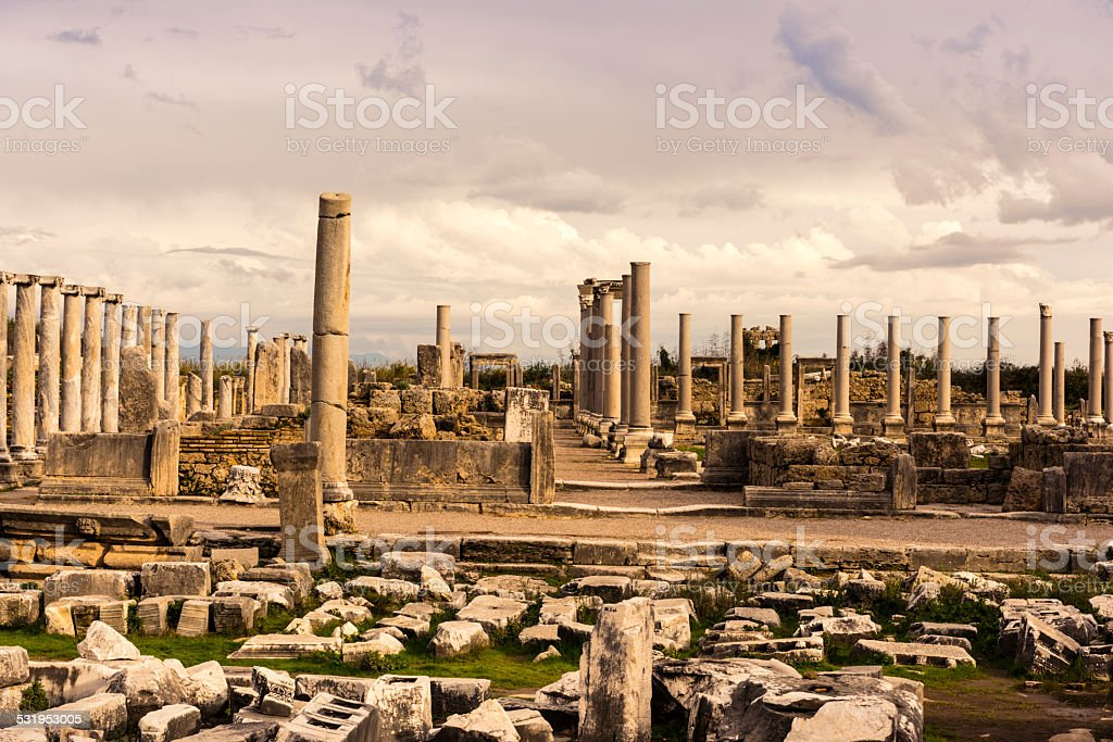 Columns of Agora in Archaic Perge. stock photo