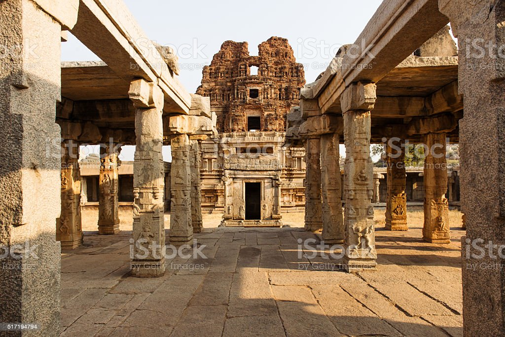 Columns of ancient ruins temple in Hampi, Karnataka, India stock photo
