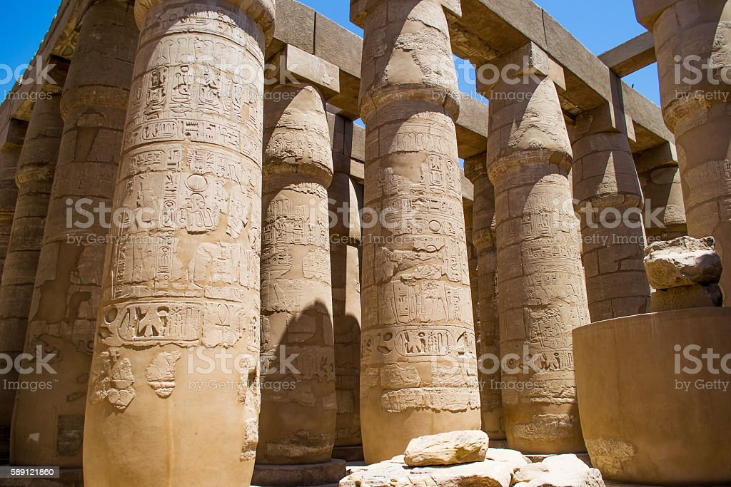 Columns of Great Hypostyle Hall, Luxor Karnak temple, Egypt Africa stock photo