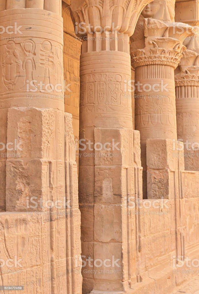 Columns of Hathor head goddess in Philae Temple ( Egypt) stock photo