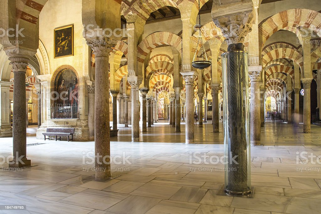 Columns of La Mezquita Cathedral (Cordoba Mosque) royalty-free stock photo