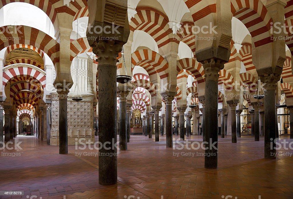 Columns of La Mezquita Cathedral (Córdoba Mosque) royalty-free stock photo