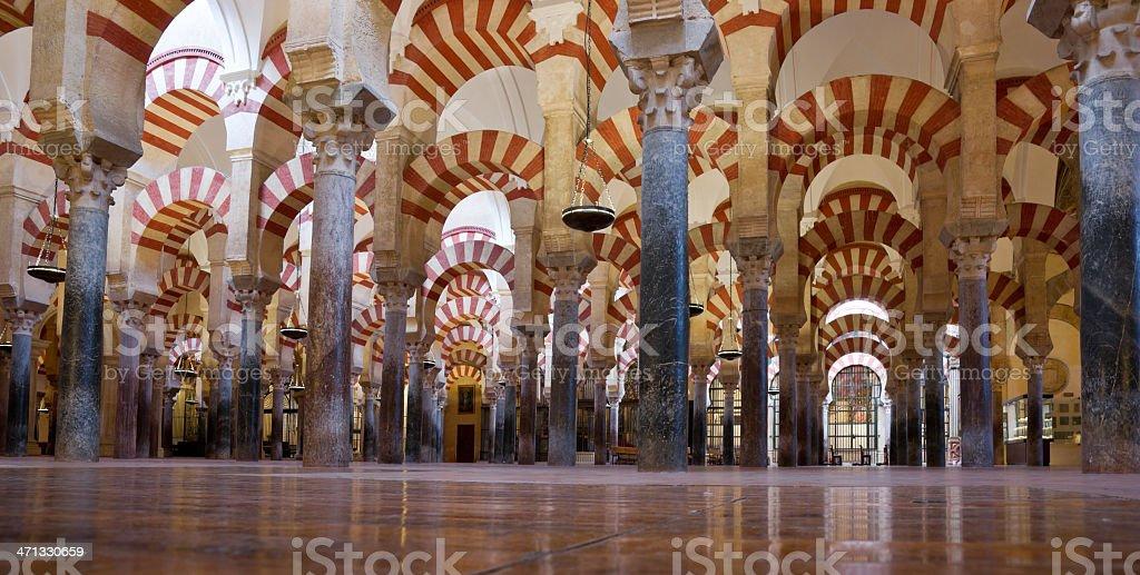 Columns of La Mezquita Cathedral (C?rdoba Mosque) stock photo