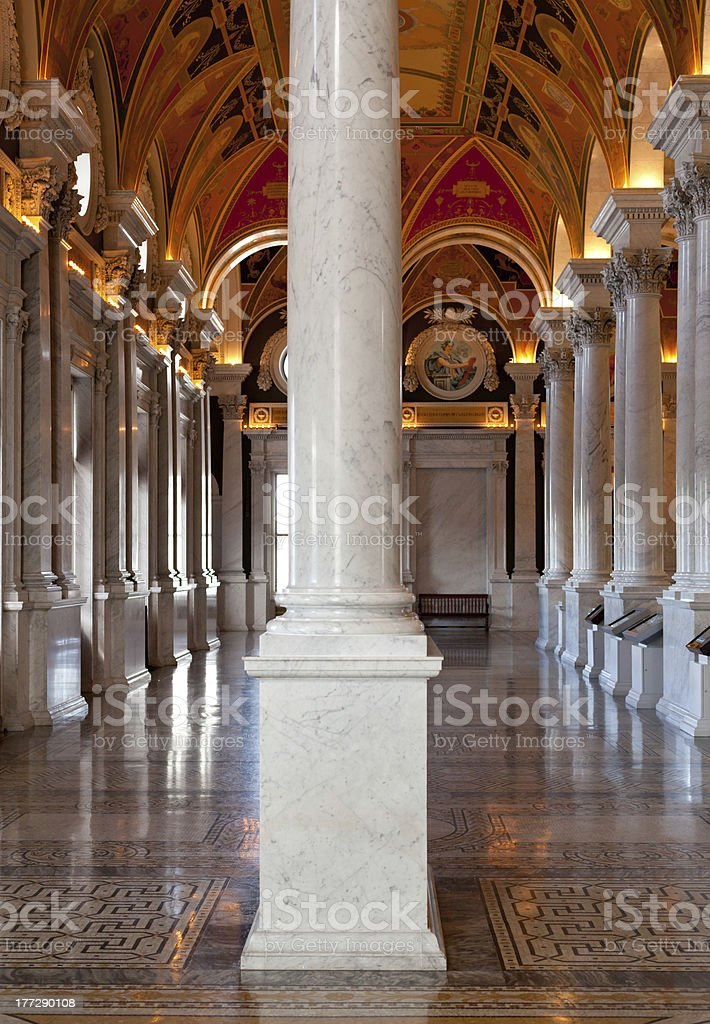 Columns of Library Congress in Washington DC royalty-free stock photo