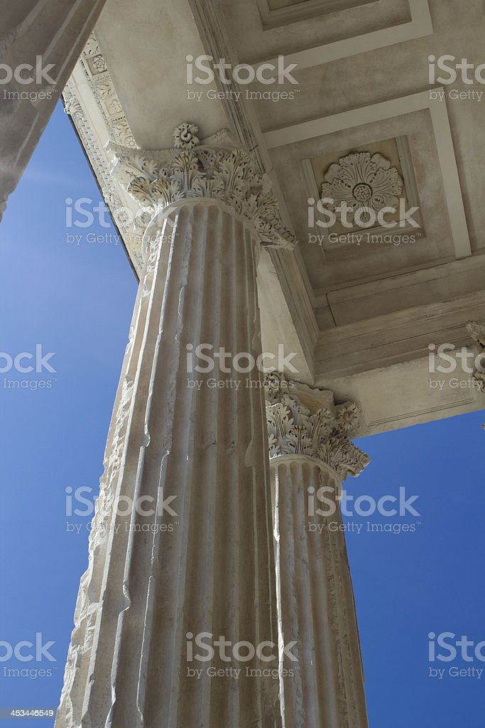 Columns of Maison Caree in Nimes, France stock photo