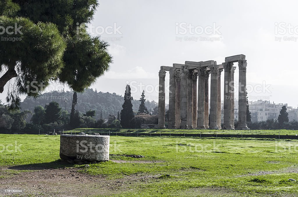 Columns of Olympian Zeus in Athens royalty-free stock photo