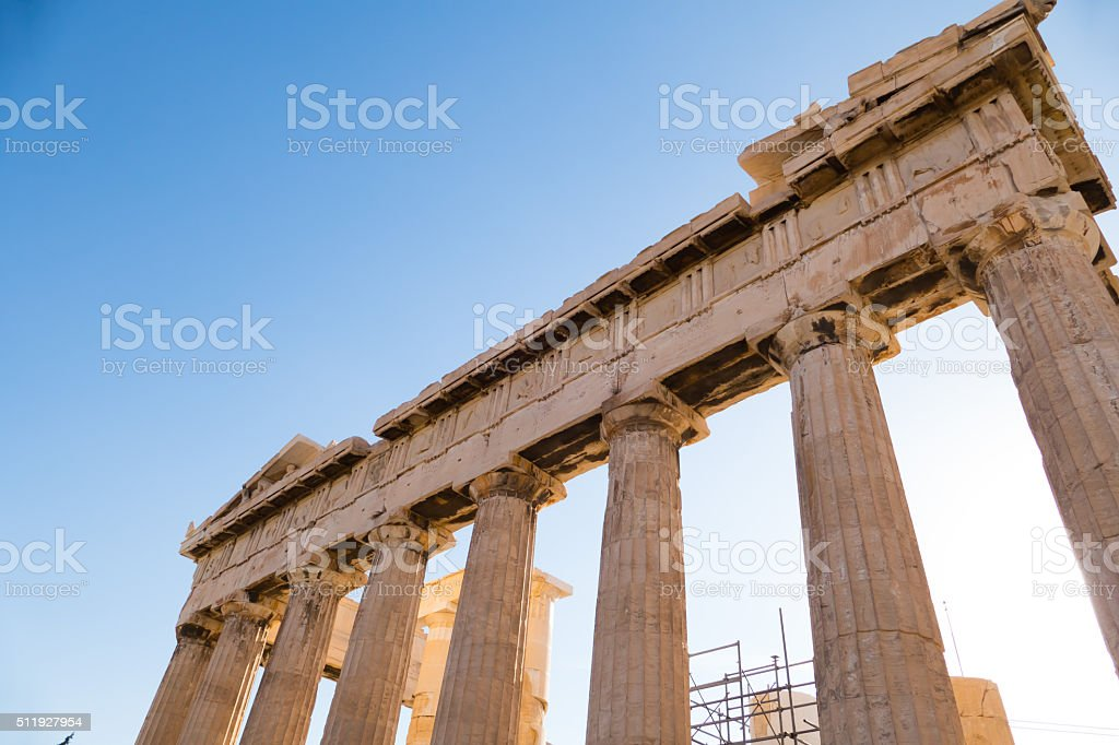 Columns of Parthenon, Acropolis Hill, Athens, Greece stock photo