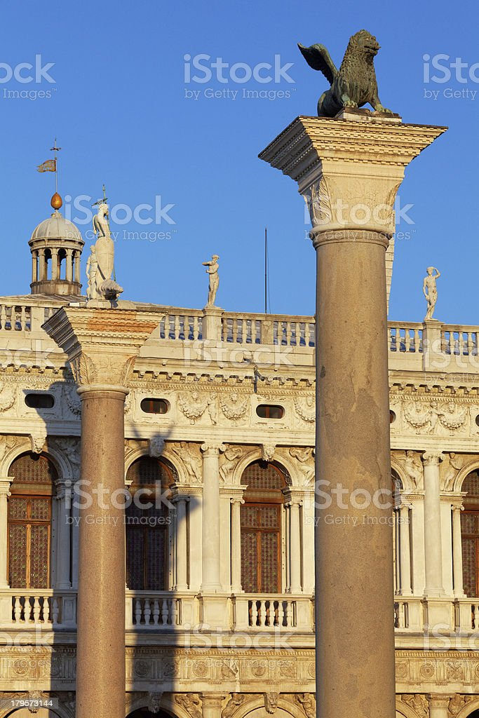 Columns of Piazza San Marco in Venice royalty-free stock photo