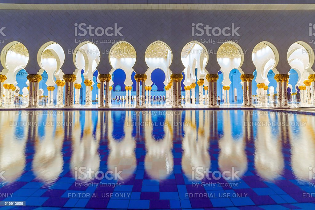Columns of Sheikh Zayed Grand Mosque in Abu Dhabi, UAE stock photo