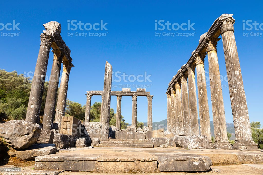 Columns of the ancient temple of Zeus at Euromos, Bodrum stock photo