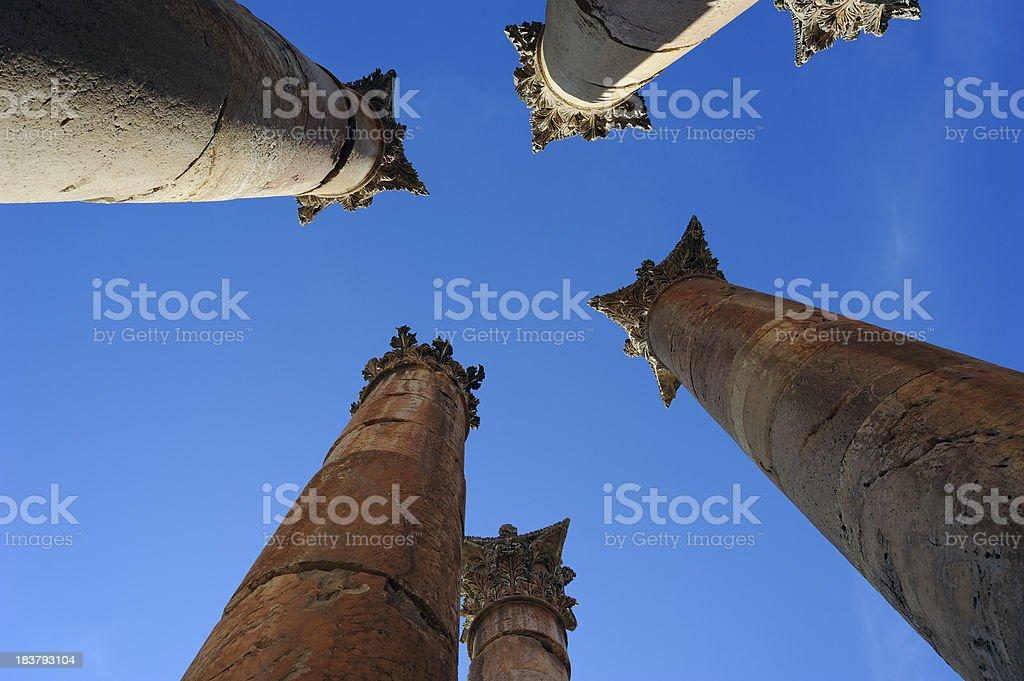 Columns of the Artemis temple in Jerash. Second century AD stock photo