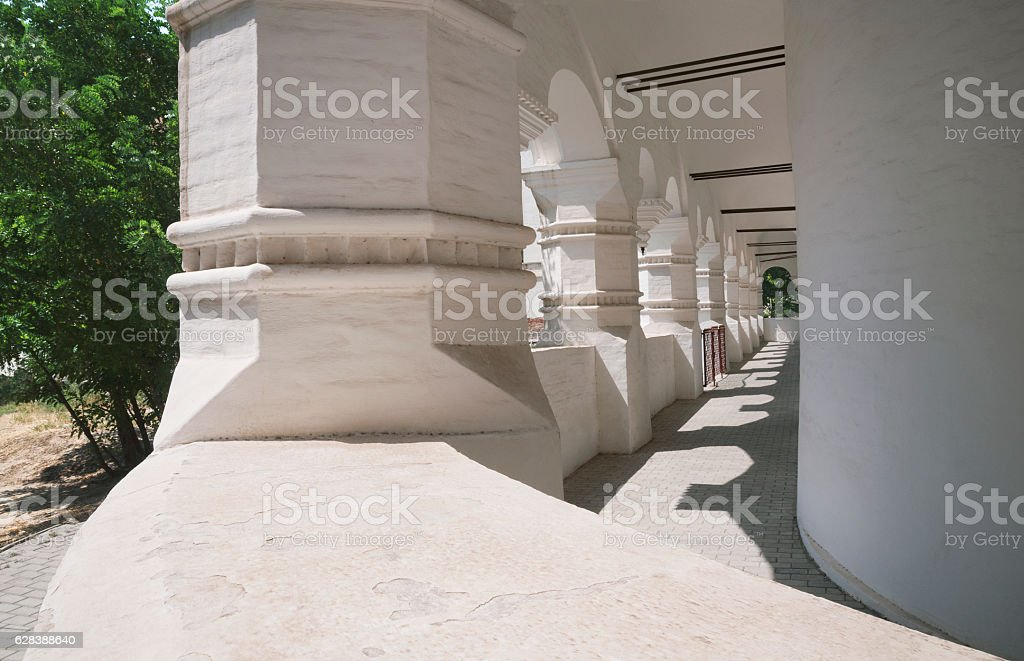 Columns of the Assumption Cathedral in the Kremlin stock photo