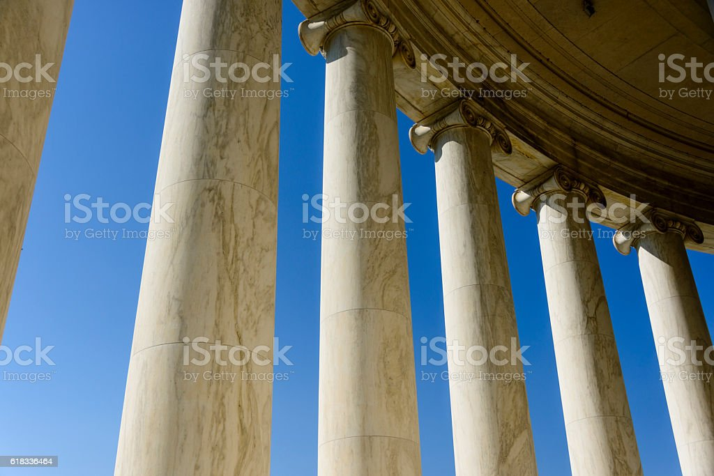 Columns of the Jefferson Memorial in Washington, DC. stock photo