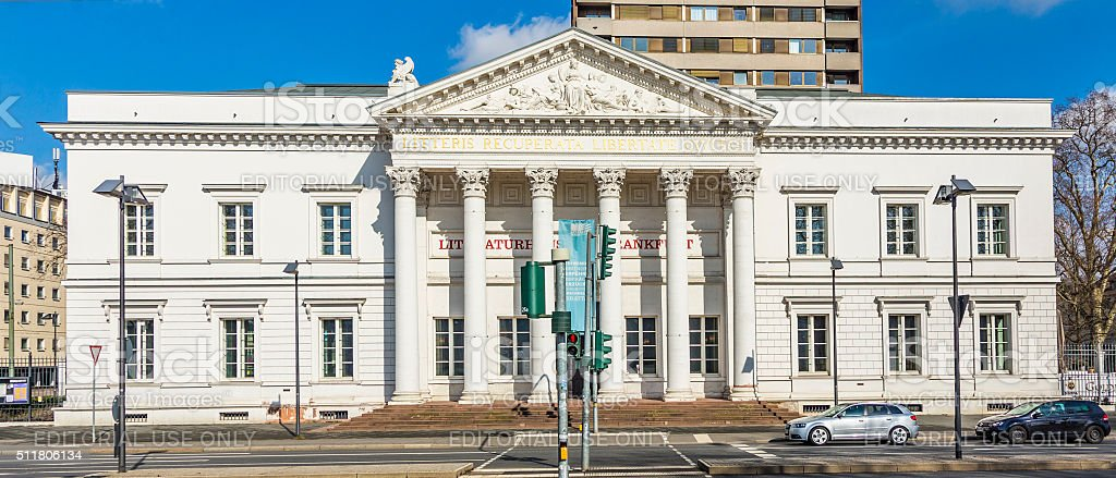 columns of the Literaturhaus in Frankfurt, Germany stock photo
