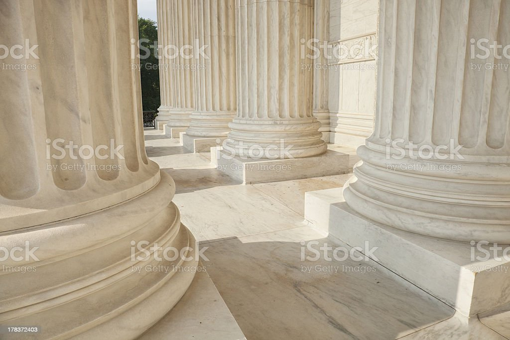 Columns of the Supreme Court building in Washington DC royalty-free stock photo