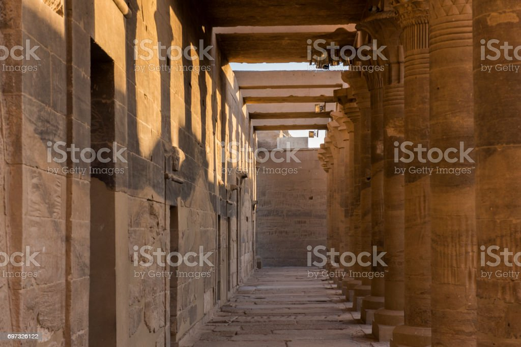 Columns of the Temple of Philae, Aswan, Egypt. stock photo