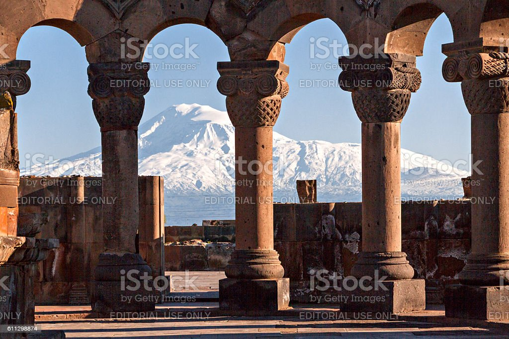 Columns of the Zvartnots Temple in Armenia stock photo