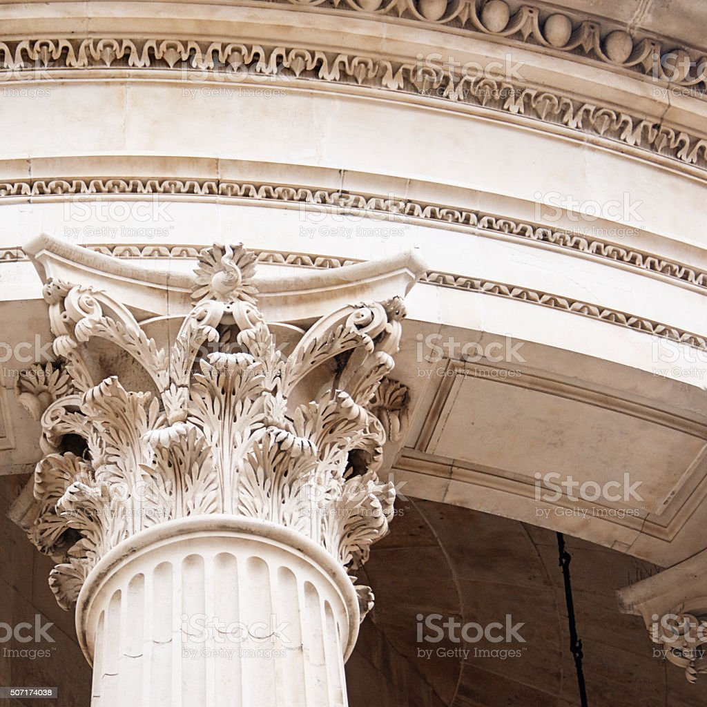 Columns, St Paul's Cathedral, London, England stock photo
