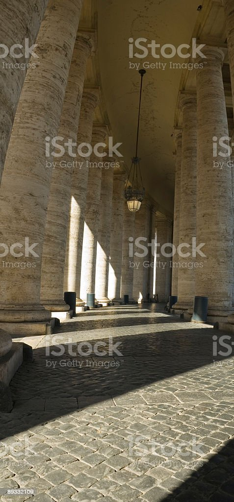 Columns, sunlight and shadows, Rome stock photo