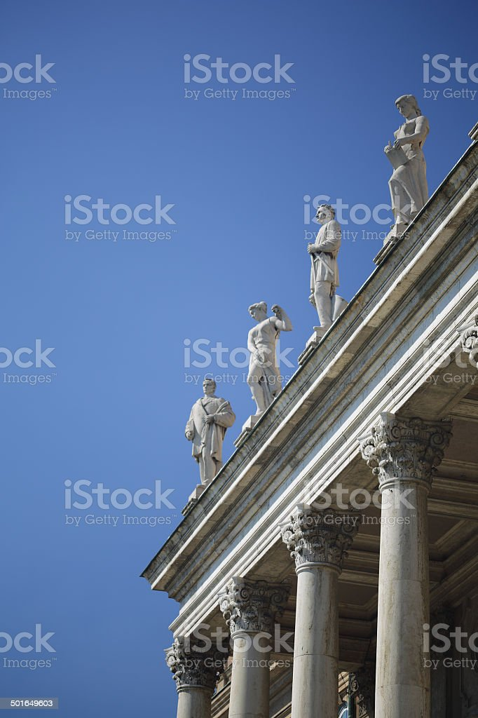 Columns with statues on Royal Palace of Buda royalty-free stock photo