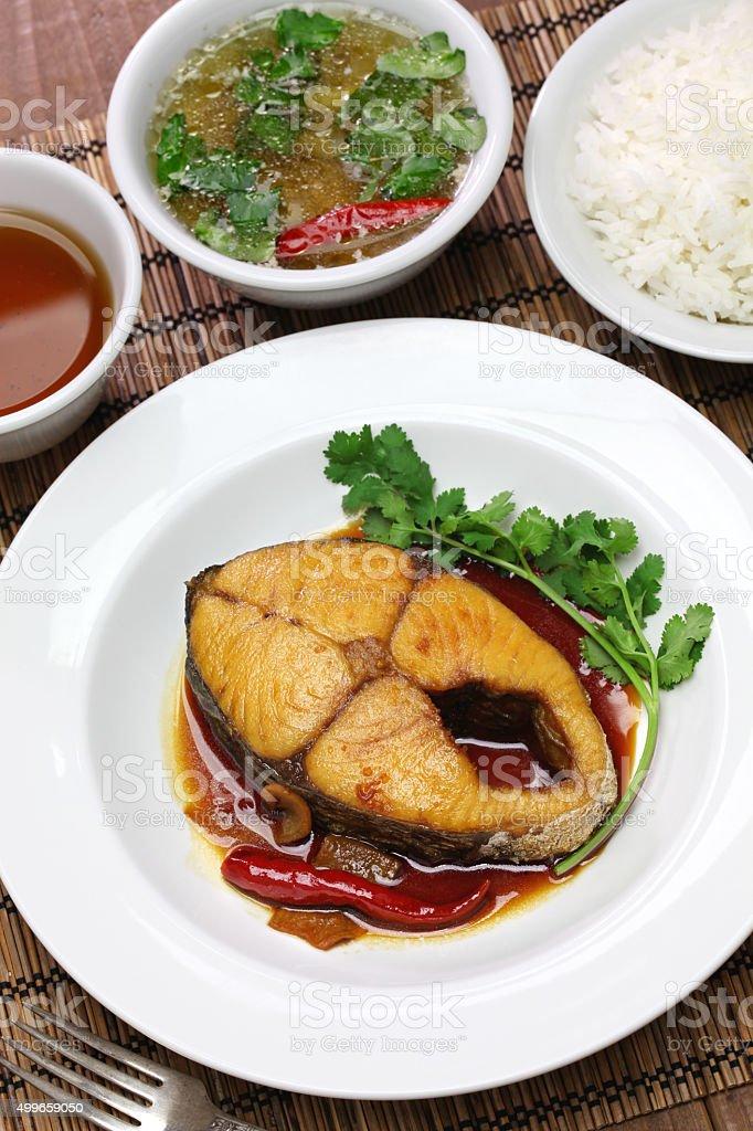 com ca thu kho, vietnamese cuisine stock photo