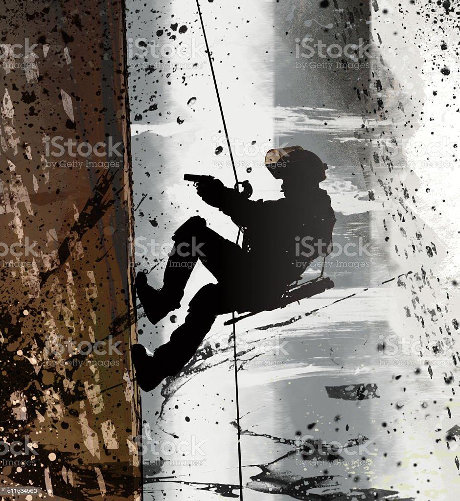 FRIES combat rappeling stock photo