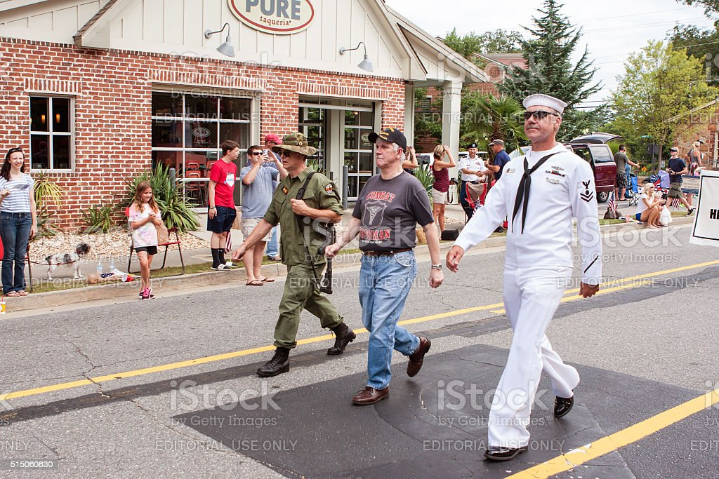 Combat Veterans Walk In Annual Georgia Old Soldiers Day Parade stock photo