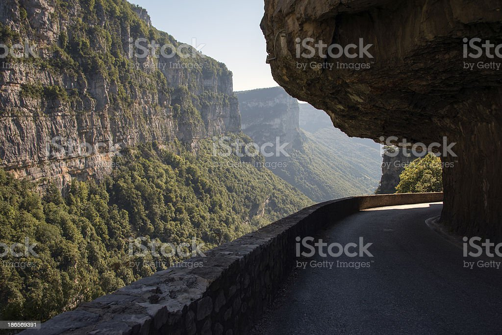 Combe Laval road in Vercors. France. stock photo