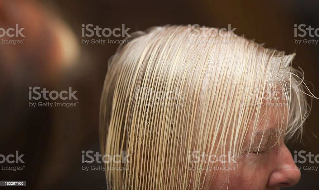 Combed hair at the hairdresser royalty-free stock photo