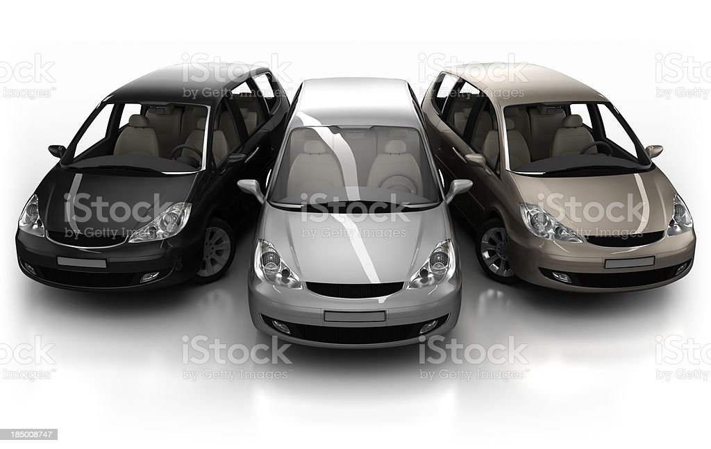 3 Combi cars in studio - isolated with clipping path royalty-free stock photo