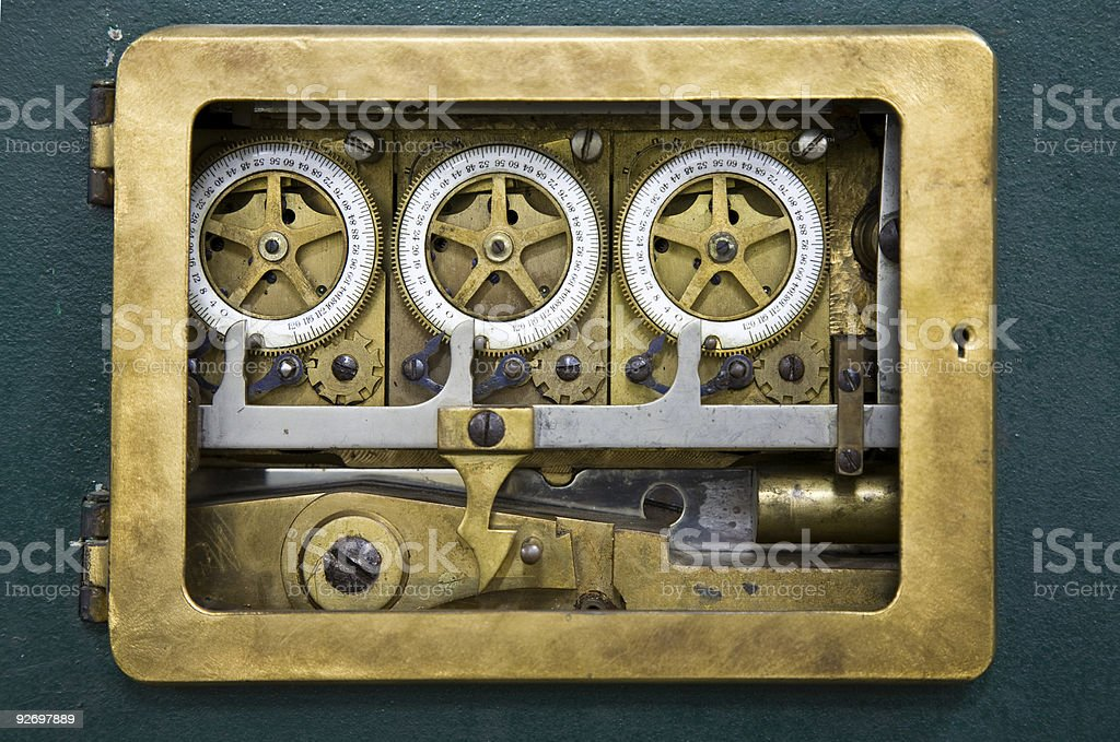 Combination lock detail stock photo
