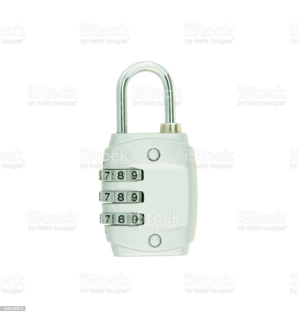 combination lock isolated on white background stock photo