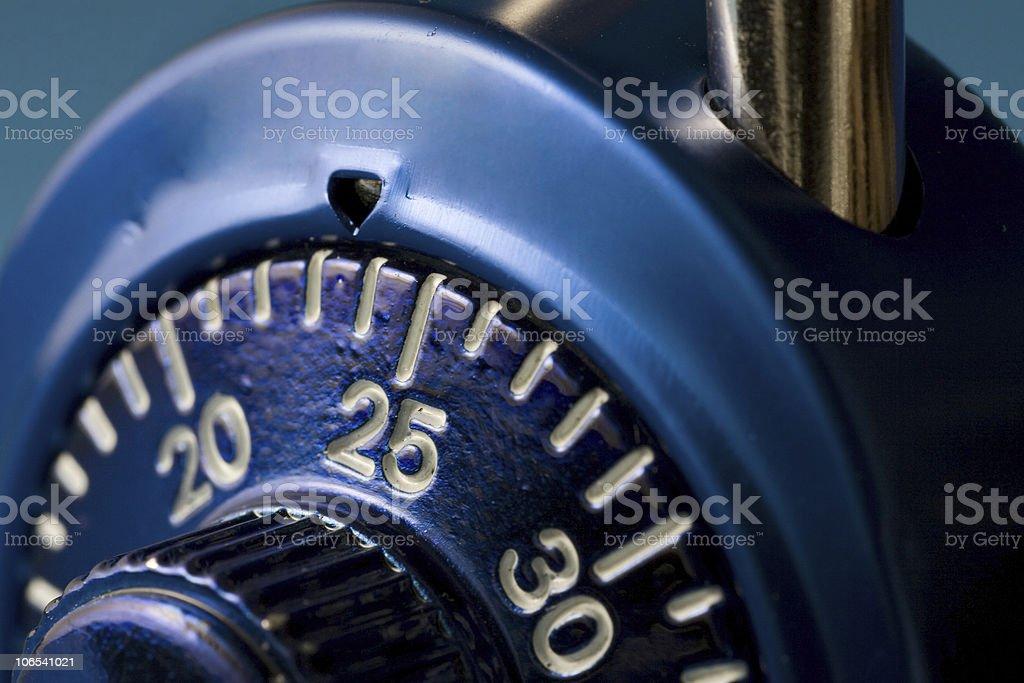 Combination lock macro - security stock photo