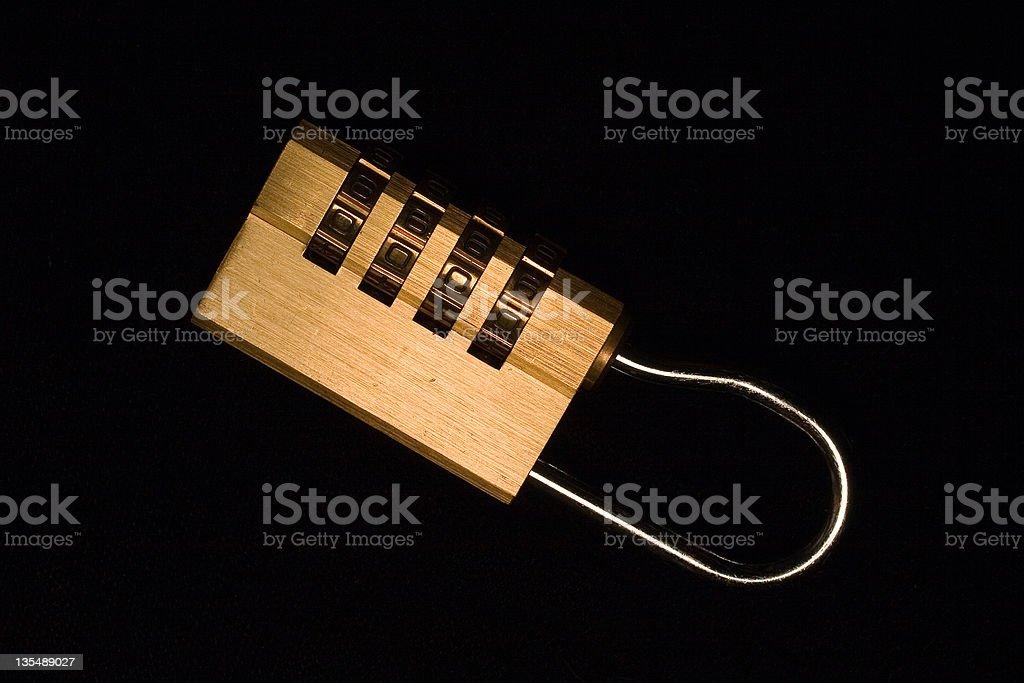 Combination Lock on Black Velvet royalty-free stock photo
