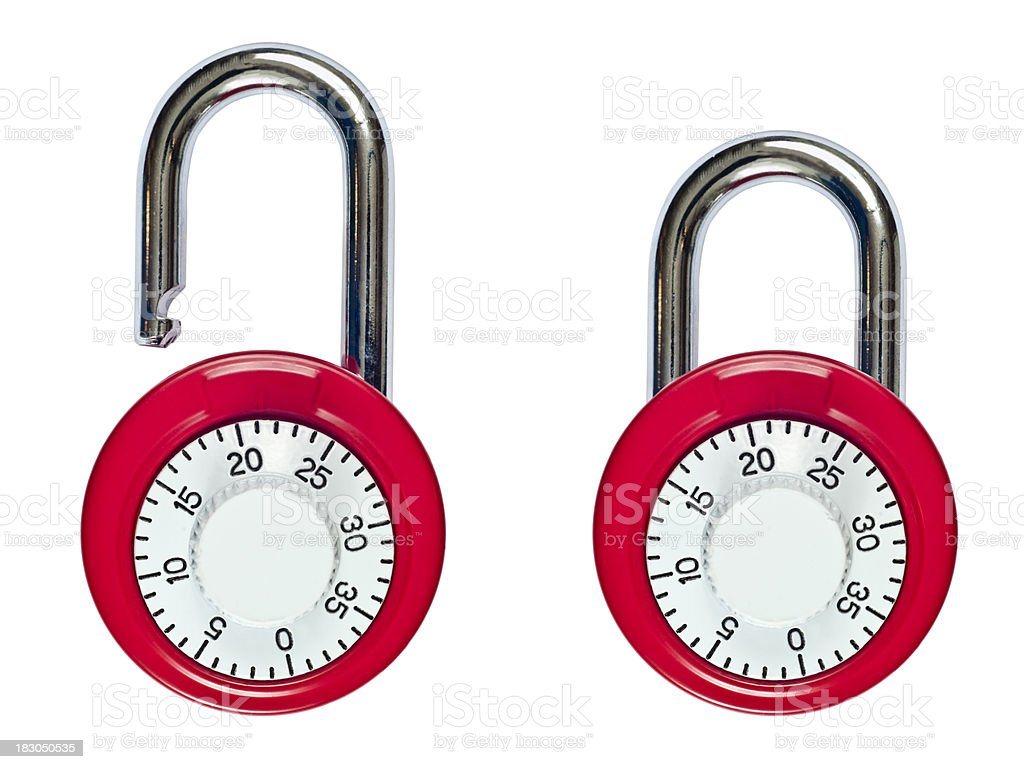 Combination Lock Open and Locked royalty-free stock photo