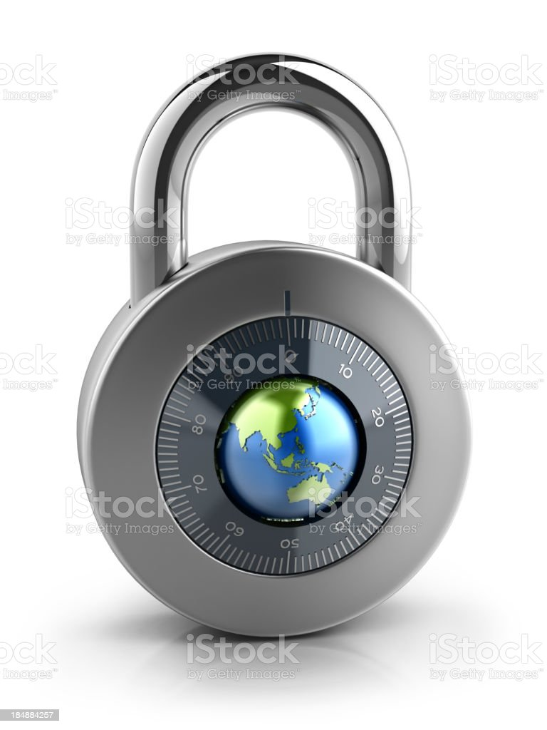 Combination Lock with globe dial Isolated on white background royalty-free stock photo