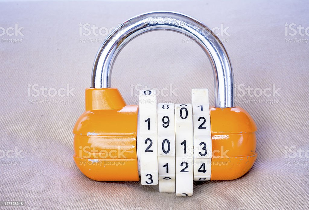 Combination lock with the year royalty-free stock photo
