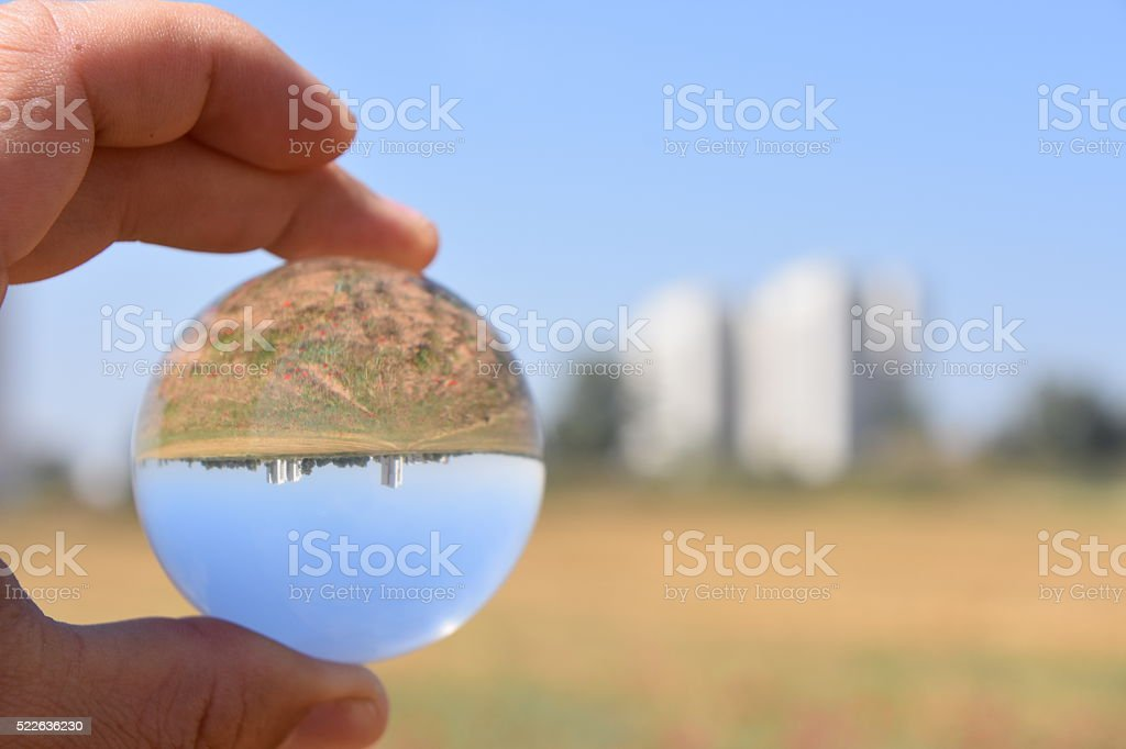 combination of city and nature stock photo