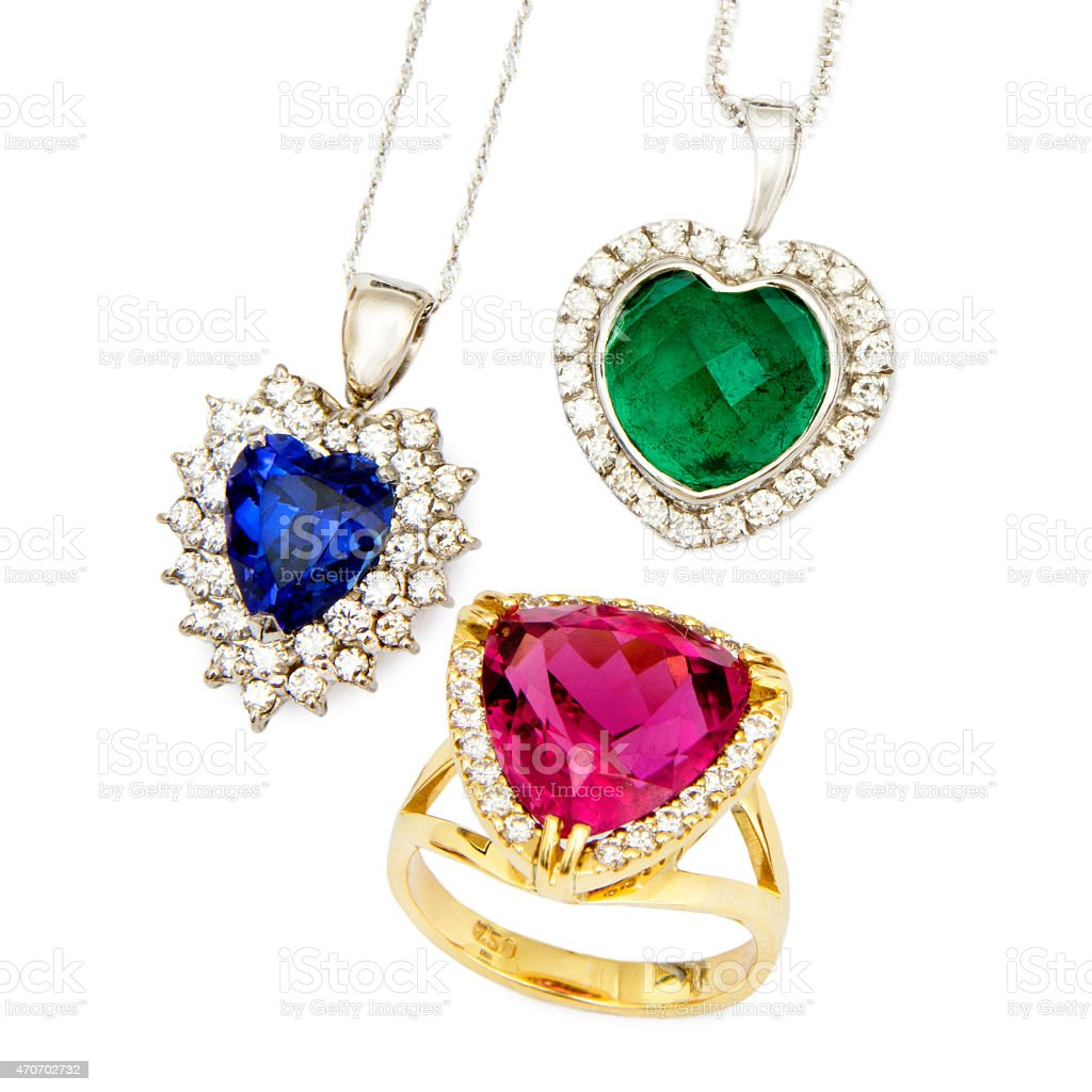 Combination of Colourful Designer Jewellery, Isolated on White Background stock photo