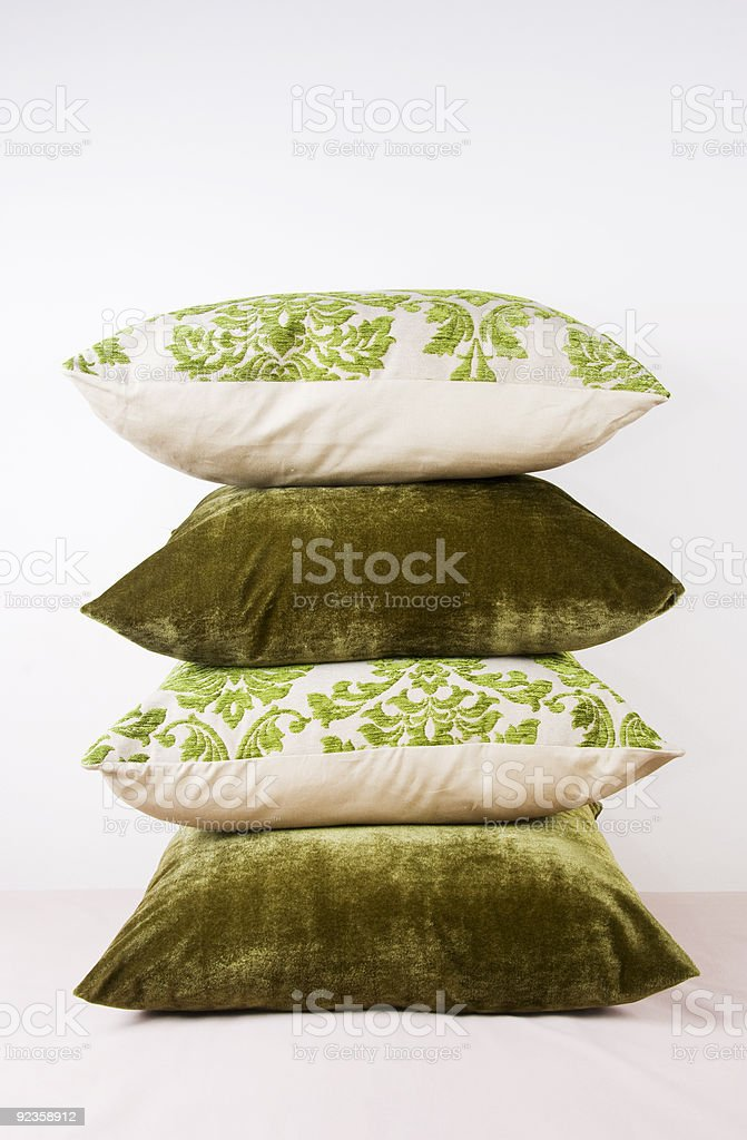 Combination of green and cream cushions royalty-free stock photo