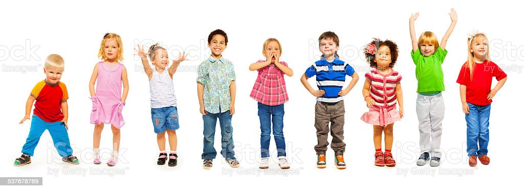 Combination of little kids standing isolated stock photo