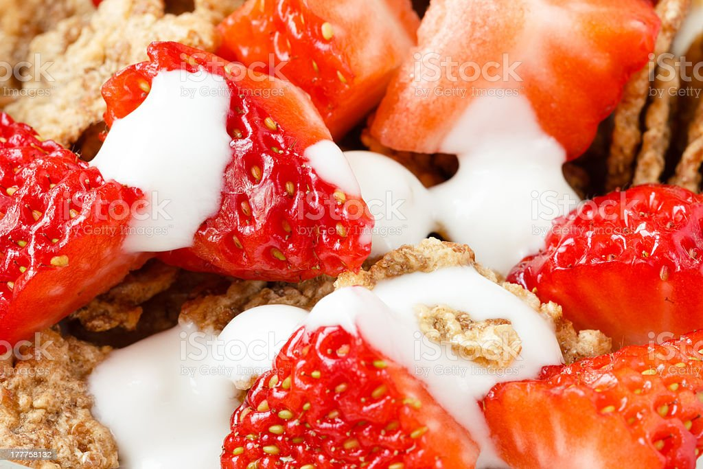 Combination of strawberry cereals and yogurt royalty-free stock photo