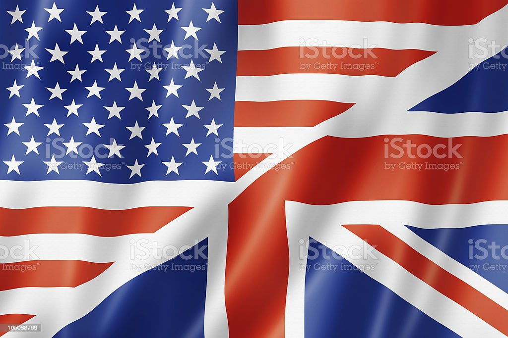 Combination of the United States and British flags stock photo